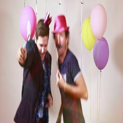 Happy friends having fun with props in photo booth Stock Footage