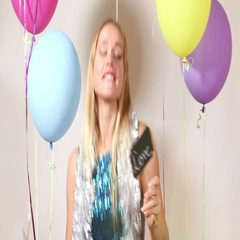 Happy woman dancing and sending kisses Stock Footage