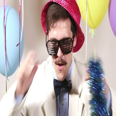 Close up of moustache man with pink hat dancing Stock Footage