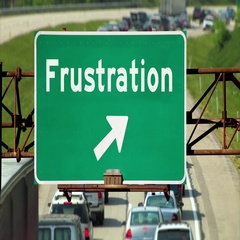 Traffic Below a Frustration Road Sign Concept Stock Footage