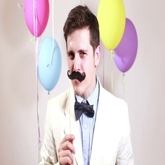 Close up portrait of man with moustache in photo booth Stock Footage
