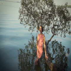 The girl walks on water Stock Footage