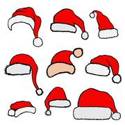Christmas Santa Claus hats Stock Illustration