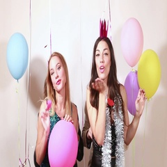 Funny crazy friends in photo booth Stock Footage