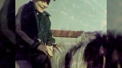 Happy Little Boy Kid Rides Horse Pony 1950s Vintage Film Home Movie  Stock Footage