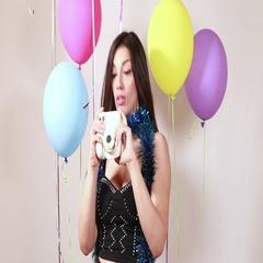 Sexy brunette woman taking polaroid photos Stock Footage