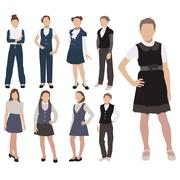 Vector set of pupils silhouette in school uniform isolated on white background Stock Illustration