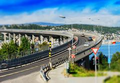 Tromso lacet transport bridge tilt-shifted background Stock Photos