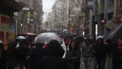 Istanbul istiklal street walking a rainy day Stock Footage