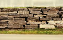 Horizontal sepia brick wall bokeh background  hd Stock Photos