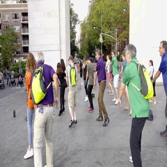 Synchronized dancing in Washington Square Park summer in Manhattan NYC Stock Footage