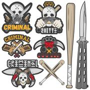 Collection of vector gang and criminal badges Stock Illustration