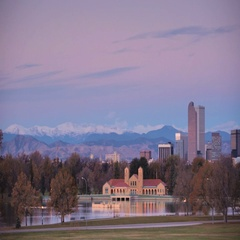 Sunrise over the city of Denver. Stock Footage