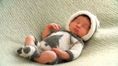 Newborn girl sleeping Stock Photos