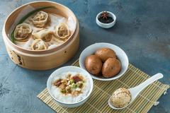 Shelled Hard Boiled Chinese Marbled or Tea Eggs Stock Photos