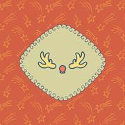 Christmas and New Year vector card with logo, hand drawn frame and background Stock Illustration