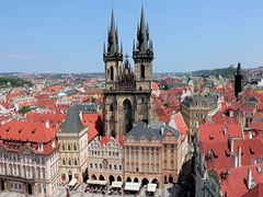 Aerial view over Old Town Square with Tyn cathedral church Stock Footage