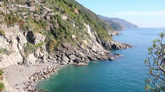 View from the top of the castle of Vernazza, Cinque Terre, Italy Stock Footage
