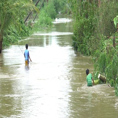 Children Play In Dirty Flood Waters After Tropical Storm Hits Stock Footage