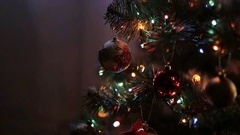 Holiday Christmas scene. Christmas gifts under the Christmas tree. Stock Footage
