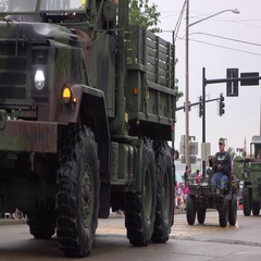 Military vehicles in 4th of July parade 4k Stock Footage