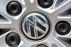 Volkswagen logo on wheel Stock Photos