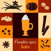 Pumpkin spice latte on ginger background. Black silhouettes.  Stock Illustration