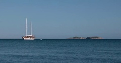 Turkish Style Gulet Yacht Anchored in the Bay of Mediterranean Sea Stock Footage