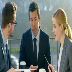 Successful Business On Early Morning Coffee Break Stock Footage