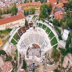 Roman amphitheater aerial 4K Stock Footage