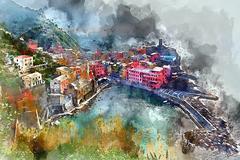 Vernazza watercolor Stock Illustration