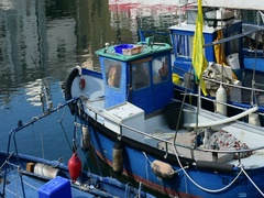 Genoa, Italy September 19, 2016: a close up of  some fishing boats Stock Footage