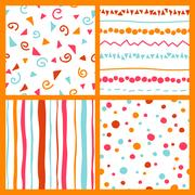 Pink, orange, red, light blue and white colored seamless patterns  Piirros