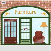 Furniture shop with a brick wall, large window  Stock Illustration