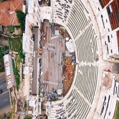 Aerial footage over classic roman theatre Stock Footage