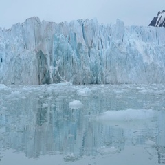 Expedition sailing near iceberg on Rubber zodiak boat in the North Pole Stock Footage