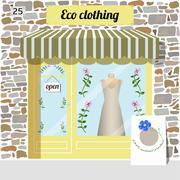 Eco clothing shop. Organic clothes store. Stock Illustration
