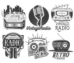 Vector set of radio and music labels in vintage style isolated on white Stock Illustration