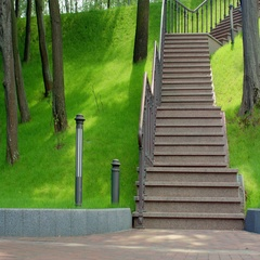 Blonde woman running down stairs in slow motion. Weight loss exercise Stock Footage