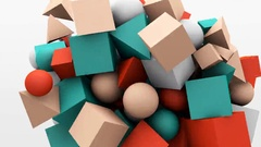 3d motion graphics, dynamic geometric shape cubes, cones, spheres and other Stock Footage