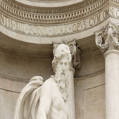 Close up of the statue of oceanus at trevi fountain in rome Stock Footage