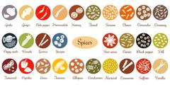 Big icon set of popular culinary spices white silhouettes.  Stock Illustration