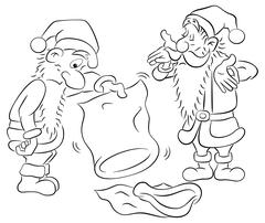 Two santa claus with empty bags Stock Illustration