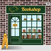 Bookshop building facade of brown brick.  Stock Illustration