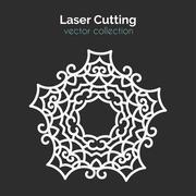 Laser Cutting Template. Round Card. Die Cut Mangala Stock Illustration