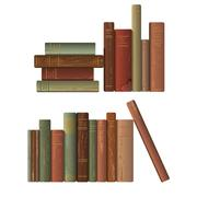 Two rows of old books.  Stock Illustration