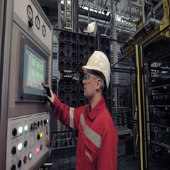 Operator Automated Robot Monitors The Execution of the Process Stock Footage