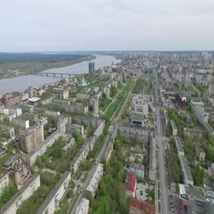 Aerial videography at a high altitude of the Russian city of Perm Stock Footage