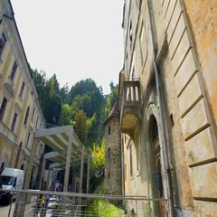 Old buildings close to the cable railway Stock Footage