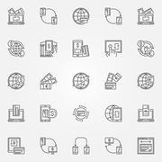 Money transfer icon set Stock Illustration